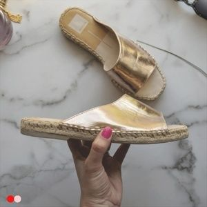 DOLCE VITA rose gold espadrille flat sandal xx